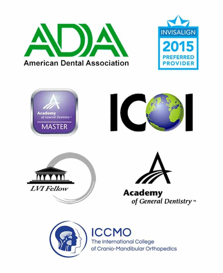 Logos of organizations that Dr. Nancy Nehawandian, Los Gatos dentists, is a proud member of
