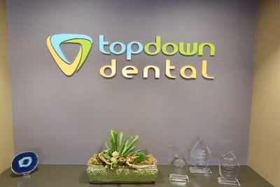 Top Down Dental sign inviting patients into our Los Gatos dental office